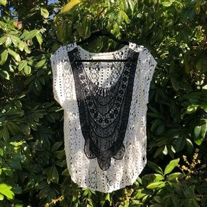 Jen's pirate Booty ivory colorblock lace tank top